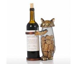 Kat Rode Wijnrek Kurk Container Fles Houder Keuken Bar Display Metalen Wijn CraftHandwerk Animal Wijn Stand Tooarts