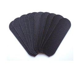 10 stks Zand Papier Vervanging Voor Rvs Dubbelzijdig Voetrasp File Eelt Remover Pedicure Voetverzorging Tool MISS ROSE