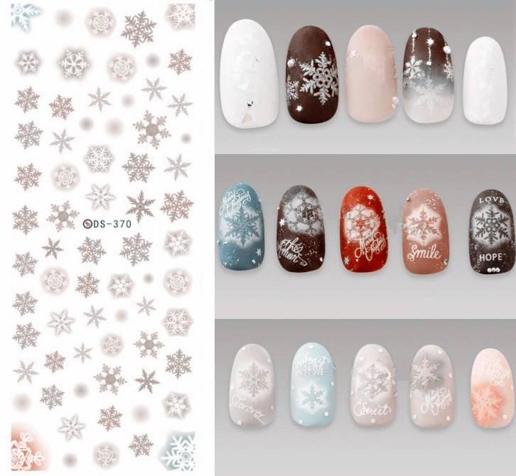 Ds370 Diy Designer Water Transfer Nails Art Sticker Grey Sneeuwvlok