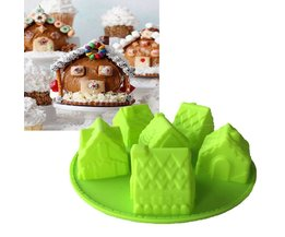 Kleine Huis Vorm Siliconen Mal 3D Fandont Chocolade Mould Kerst 6 Huis Chiffon Cake Bakvormen Fondant Cake Tools HK069 KEYBOX