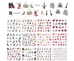 12 Ontwerpen/Sets Vrouwen Stijlen Hoge Hakken Water Transfer Decals Nail Art Sticker Sexy Lady Tips Manicure Nail BN589-600 Full Beauty