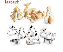 3D KERST Scenario Cookie Cutter Set (Rvs), sneeuwpop, Kerstboom, herten En Slee-Nieuwjaar Geschenken voor Kinderen