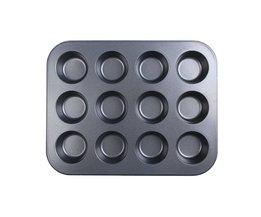 Mini 12-cup Muffin Roestvrij Iron Anti-aanbak Pan Keuken accessaries Bakplaat Voor Cup Cakes Pudding Muffin Keuken Tool VKTECH