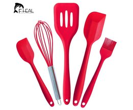 5Pcs Silicone Pastry Cooking Baking Scraper Sets Pastry Healthy Oil Utensil Basting Brush Spatulas Kitchen Cooking Tools FHEAL