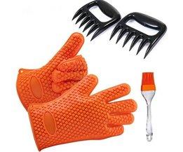 5 stks/partij Non-stick Hittebestendige Bakvormen Set Inclusief Siliconen Grill BBQ Handschoenen Vlees Klauwen en Borstel MOM'S HAND