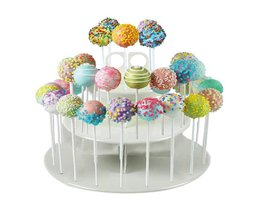 3-Tier 42 Gaten Ronde Cake Pop Lollipop Wedding Party Cupcake Display Stand (Wit) ROSENICE