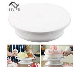 Ttlife 28 cm keuken cake decorating icing draaibareuitwerppijp cake stand wit plastic fondant bakken tool diy TTLIFE