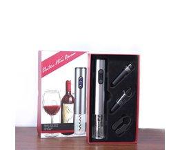 4 stks/partij Elektrische Wijn Opener Rvs Cordless Corkscrew met Foliesnijder Vacuüm Stopper Schenker Gemakkelijk Gieten Wijn waasoscon