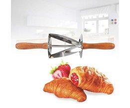 Rolling Mes Voor Croissant Brood Houten Met Handvat Rvs Rolling Deeg Cutter voor Maken Croissant TOPINCN