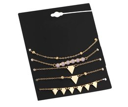 17 KM 5 Stks/set Legering Driehoek Armband Steen Armbanden Voor Vrouwen Goud Kleur Charme Pulseiras Set Pulseras Mujer Hanger Kraal 17KM