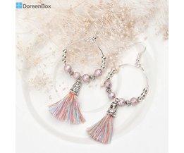 Doreen Doos 1 Paar Handgemaakte Earring Drop Loop Bohemen Boho Kralen Zilver Kleur Roze Kwastje Hanger Etnische Oorbellen 7.8x3.2 cm Doreen Box