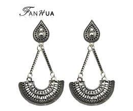 Etnische Stijl Sieraden Antiek Zilver Kleur Ketting met Grote Geometrische waaiervormige Drop Dangle Oorbellen voor Vrouwen Brincos Fanhua