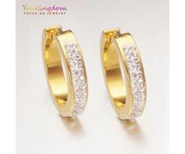 Yunkingdom goud-kleur crystal rhinestone oorringen voor vrouwen dames mode-sieraden rvs UE0085 yunkingdom