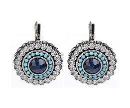 NieuweKerstcadeau Luxe Oorbellen Zilver Kleur Oostenrijkse kristallen 100% Handgemaakte Sieraden Blauw Clip Oorbellen shineland