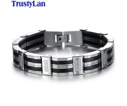 Accessoire Mannen Armband BrazaletRvs & Zwart Siliconen Mens Armbanden Sieraden Polsbandjes Band TrustyLan