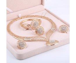 Vrouwen Delicate Goud Bruids Sieraden Sets Strass Hanger Kraag Armband Crystal Oorbellen Ringen Bruiloft Accessoires MINHIN