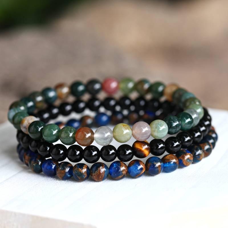 Populair Natuurlijke Zwarte Steen Kralen Armband Mannen Hematiet Kralen #ED85
