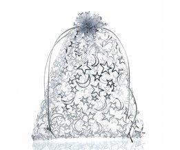 20 Stks Koord Organza Tassen 16x13 cm Ster Maan SieradenTassen Wedding Kerst Gunst Zakjes Opbergzakken sieraden Verpakking FUNIQUE