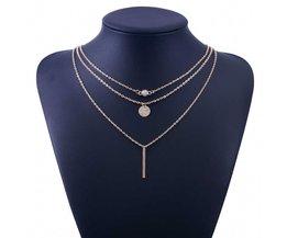 mode geometrische kristal 3 lagen goud en zilver selectie collier voor dames TOMTOSH