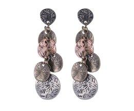 Vintage Zilveren Turkse Coin Oorbellen bloemen ontwerp Boho Gypsy Beachy Etnische Tribal Festival Sieraden Turkse Bohemian Oorbellen  shineland