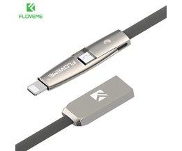 2 in 1 Platte Kabel Voor iPhone 7 6 6 s Plus 5 5 s iPad Air Pro Draagbare Koord Voor Opladen Micro USB Kabels Voor Samsung S7 S6 Floveme