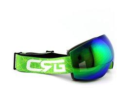 Blauw/Groen Lens Groen FrameSkibril Dubbele UV400 Anti-condens Grote Ski Masker Bril Skiën Mannen vrouwen Sneeuw Snowboard Goggles coolsky