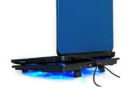 """laptop koeler 17 inch 5 fans 2 USB Laptop Cooling Pad/Notebook Stand Cooler stilte LED past 14-17"""" NAJU"""