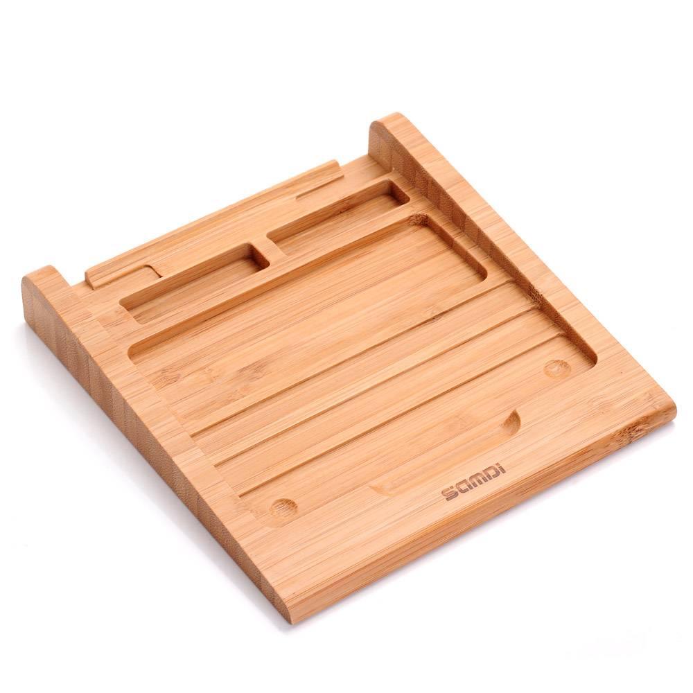 Samdi Laptop Stand Klassieke Bamboe Draadloze Bluetooth Touchpad Dock Rack Houder Stand Beugel voor