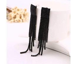 Zwarte Volledige Strass Vintage Kwastje Oorbellen Oorbellen Kwaliteit Oorbellen Voor Vrouwen Luxe Sieraden Lange Dangle Earring # E019 YFJEWE