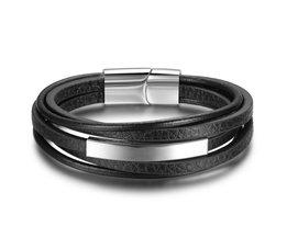 Armbanden &amp; Bangles Rvs Lederen Armband Mannen Sieraden Punk Mannen Armband Zwart 22 cm CharmsBangles (BA101879) <br />  jewelora