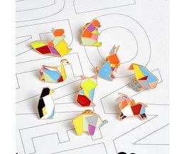 QIHE SIERADEN 9 stks/set Origami Dier Revers Pin Enamel Pins Olifant Konijn Bunny Beer Eekhoorn Walvis Pony Pinguïn Vos Ontwerp  <br />  <br />  QIHE JEWELRY