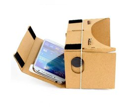 Google Kartonnen Cardbord Lnette Video 3 D Gerceklik Virtual Reality Bril 3D VR Bril Smartphone Helm Headset Lens VR Doos <br />  AyeBeau