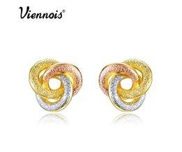 Mode-sieraden Goud &amp; Zilver &amp; Rose Goud Kleur Knoop Oorbellen voor Vrouw Triple Kleur Kleine Oorbellen <br />  Viennois