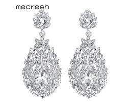 Mecresh Big Teardrop Crystal Bruiloft Lange Oorbellen voor Vrouwen Zilveren Kleur Bridal Pendantes Boucle D&#039; Oreille Party Sieraden MEH729 <br />  mecresh