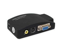 PC Laptop Composiet Video TV VGA/s-video/Composiet RCA/AV naar VGA Converter Switch Adapter schakelaar Doos Zwart <br />  wiistar