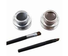 Muziek Bloem Beste 2 In 1 Bruin + Zwart Eyeliner Gel Make Up waterdicht Eyeliner Kit Oogmake-up Crème 2 Cosmetica Borstels Tool <br />  Music Flower