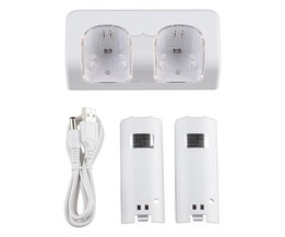 Top Selling LED Licht Afstandsbediening Dual Charging Dock Station 2x2800 mAh Batterij Met voor Wii Wit <br />  ShirLin