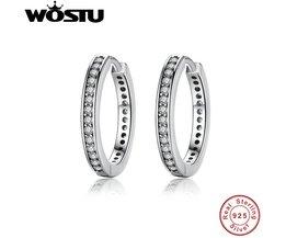 100% 925 Sterling Zilver Party Eternity Oorringen Met Clear CZ Voor Vrouwen Authentieke Originele Sieraden XCHS456 <br />  WOSTU