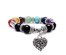 Regenboog 7 Chakra Healing Balans Kralen Armband Perzik Hart Hanger Reiki Gebed Stenen Boeddha Armband Vrouwen of Man <br />  Qilmily
