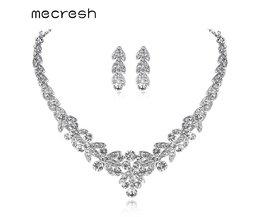 Mecresh Zilver-kleur Kristal Bruids Sieraden Sets Bladvorm Choker Ketting Oorbellen Bruiloft Sieraden voor Vrouwen TL206 <br />  mecresh