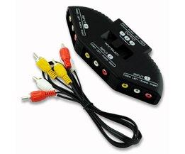 Een 3to3 mannelijk naar M/M rca-kabel 3 Input Kanalen AV Expansion Switch Box Multi Selector Voor XBOX DVD PS2 PS3 <br />  YCDC