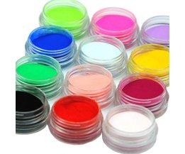 12 stk/set Acryl Poeder Stof Decoratie Set voor Valse Tips Manicure Nail Art Acryl Poeder Voor Nail <br />  COSCELIA