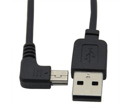 2 STKS Mini USB B Type Mannelijke Haaks 90 Graden naar USB 2 0 Man Datakabel 0.3 m zwart <br />  CableDeconn