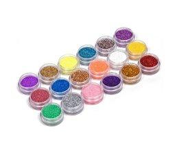 18 Kleuren/set Nail Art acryl Glitter Poeder Voor UV GEL Acryl Poeder Decoratie nagel gel nail gereedschap <br />  YKS