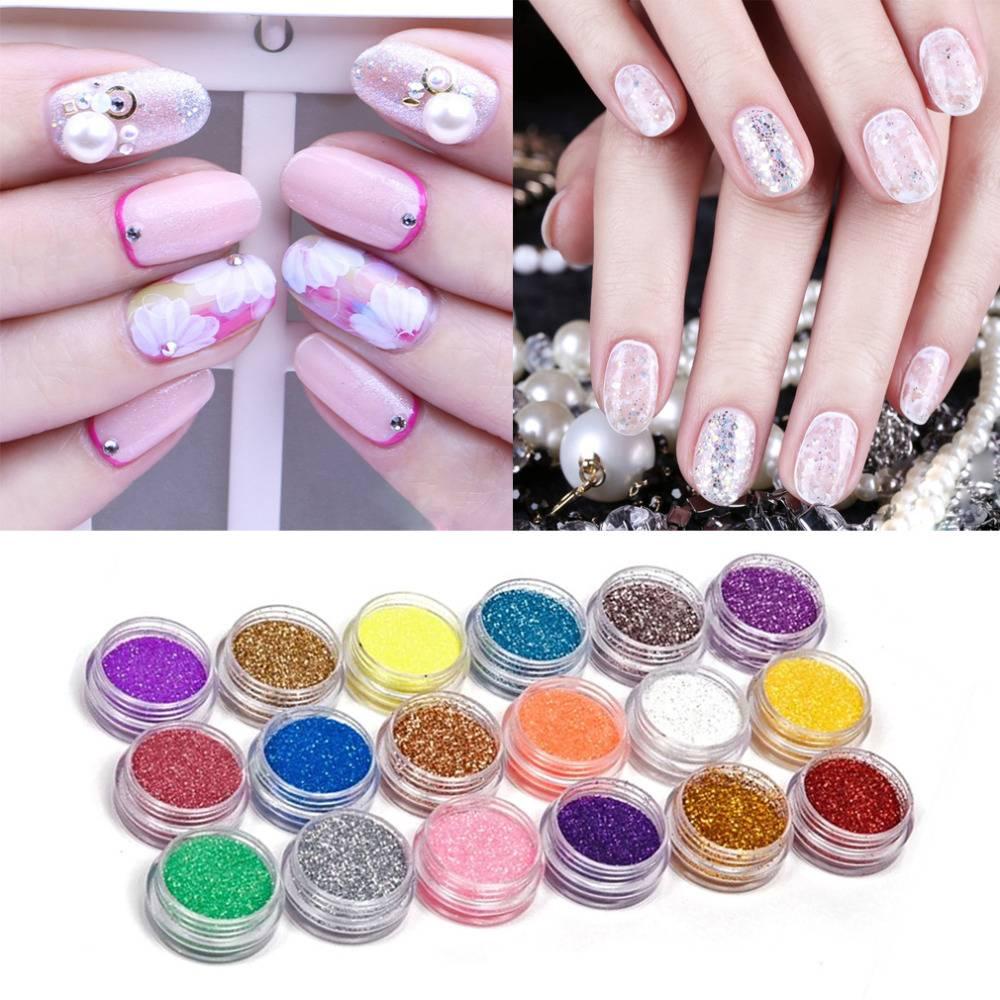 18 Kleurenset Nail Art Acryl Glitter Poeder Voor Uv Gel Acryl