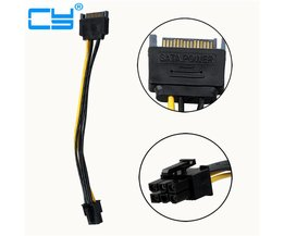 5 stks/partij 15Pin SATA NAAR PCI 6Pin Adapter Voeding Kabel CORD 18AWG Draad Voor PCIe Grafische Video Display Card PC DIY 20 cm <br />  CY