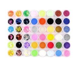 Groothandel 48 Kleuren Nail Art Glitter Acryl Poeder voor UV GEL Decoratie Set Tips Kleurrijke nail acryl poeder (48 potten) <br />  MyXL