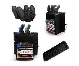 Multifunctionele gaming movie schijven opslag toren dual game controller stand opladen dock station voor ps4 voor playstation 4 <br />  ALLOYSEED
