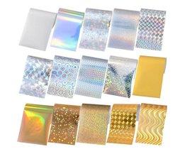 15 Vellen Sterrenhemel Laser Nail Folies 4*10 cm Kleurrijke Shimmer Transfer Sticker DIY Nail Tips voor Nail decoraties <br />  Born Pretty
