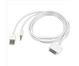 3.5mm Jack Auto AUX Stereo Audio 30 pin USB Lader Data Sync Cord Oplaadkabel voor iPhone 4/4 S 3GS iPod Nano/Touch iPad 2/3 <br />  KomoKe